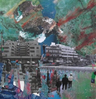 'THE PARADE' COLLAGE 50cm x 50cm £150 (box canvas)