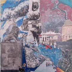 'THE LION' COLLAGE 50cm x 50cm £150 (box canvas)