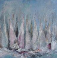 Over the line 4 - £425 Acrylic on box canvas 50cm x 50cm