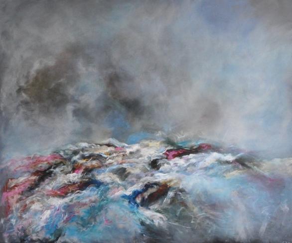 Storm over Seaview - £850 acrylic on box canvas 120cm x 99cm
