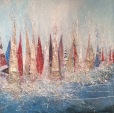 Racing - Mixed media on canvas