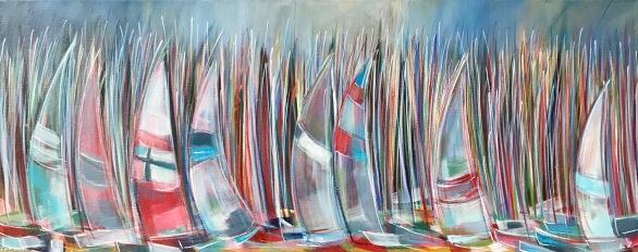 """Early start' Acrylic on box edge canvas 100cm x 40cm £395"