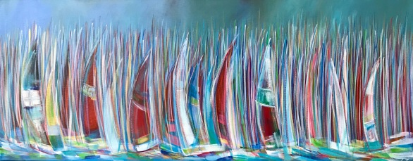'Round the Island - little wind' Acrylic on box edge canvas 100cm x 40cm £395
