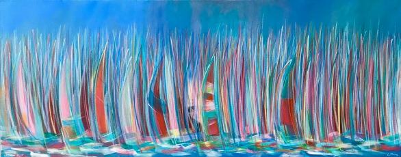 'Round the island' Acrylic on box edge canvas 100cm x 40cm £395